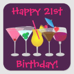 Happy 21st Birthday Party Drinks Stickers
