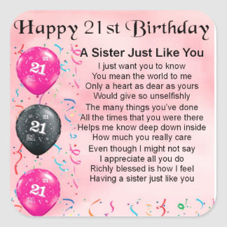happy 21st birthday sister poem stickers images frompo