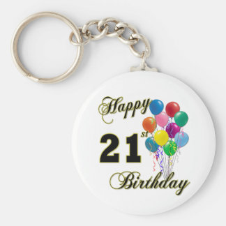 Happy 21st Birthday with Balloons Keychains