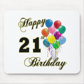 Happy 21st Birthday with Balloons Mouse Pad