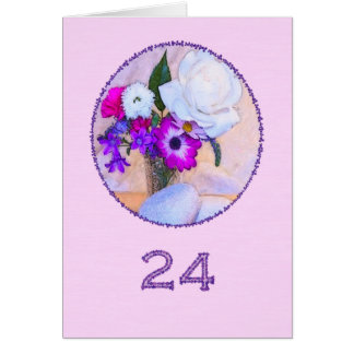 Happy 24th birthday with a flower painting card