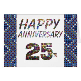 Happy 25 25th Anniversary Elegant Colorful design Greeting Card