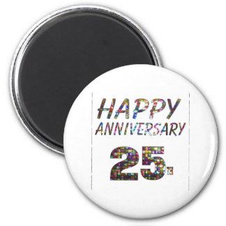 Happy 25 25th Anniversary Elegant Colorful design 6 Cm Round Magnet