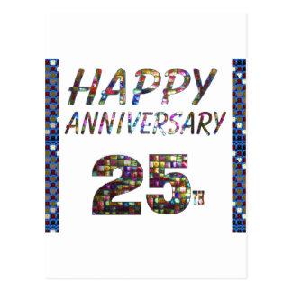 Happy 25 25th Anniversary Elegant Colorful design Postcard