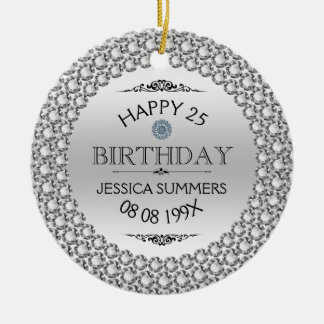 Happy 25th Birthday Diamonds & Silver Round Ceramic Decoration