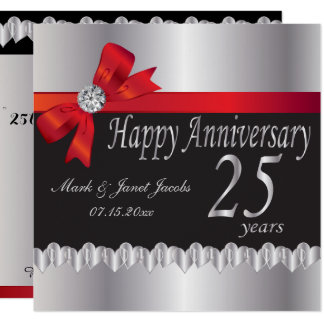 Happy 25th Silver Wedding Anniversary Card