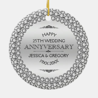 Happy 25th Wedding Anniversary Diamonds & Silver Round Ceramic Decoration