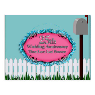 Happy 25th Wedding Anniversary Greeting Cards Postcard