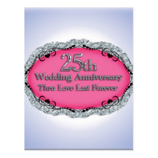 Happy 25th Wedding Anniversary Greeting Cards Postcard