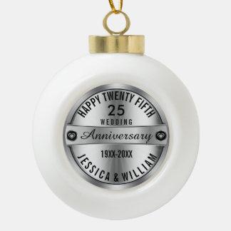 happy 25th Wedding Anniversary Silver & Diamonds Ceramic Ball Christmas Ornament
