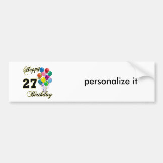 Happy 27th Birthday Gifts with Balloons Bumper Stickers