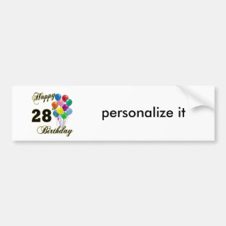 Happy 28th Birthday Gifts with Balloons Bumper Sticker