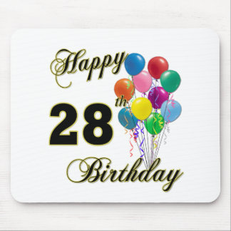 Happy 28th Birthday Gifts with Balloons Mousepads
