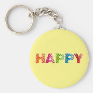 """""""Happy"""" 2.25"""" Basic Button Keychain"""