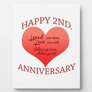 Happy 2nd. Anniversary Photo Plaque