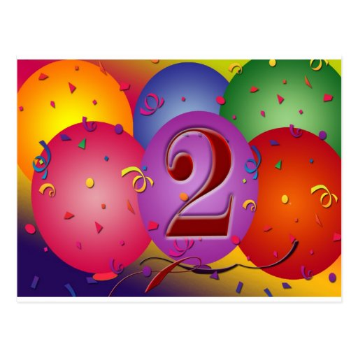 Happy 2nd Birthday Balloons Post Cards