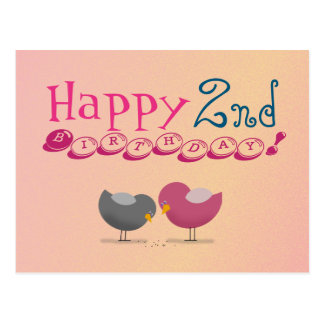 Happy 2nd Birthday Birds Cartoon Cute Colorful Postcard