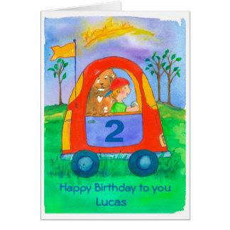 Happy 2nd Birthday Boy Custom Name Card