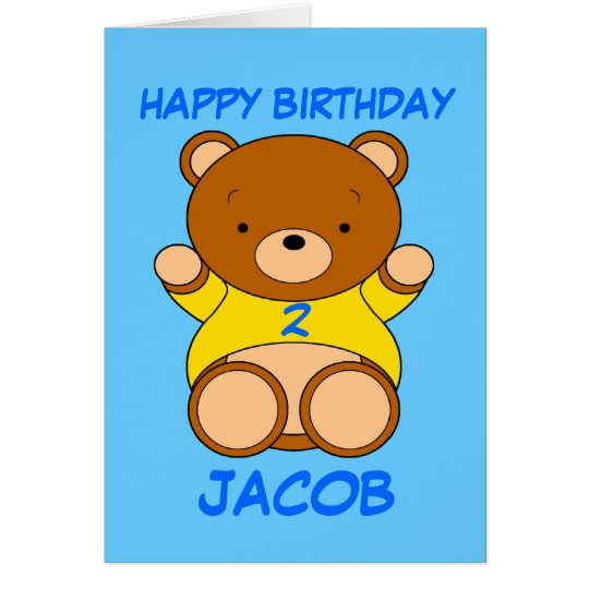 Happy 2nd Birthday Cartoon Bear for Jacob Card