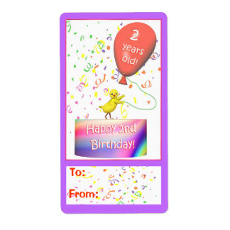 Happy 2nd Birthday Chicken Gift Tag Shipping Label