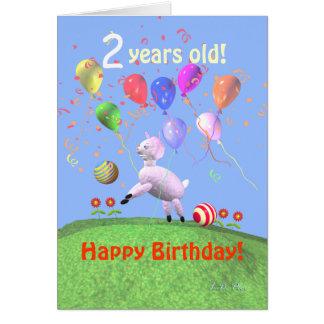 Happy 2nd Birthday Lamb and Balloons Greeting Card