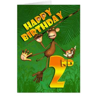 Happy 2nd Birthday Monkey Banana Card