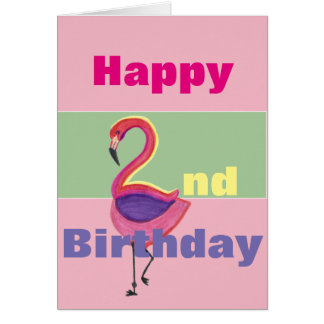 Happy 2nd Birthday with a Flamingo Card