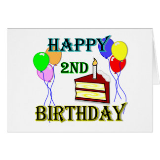Happy 2nd Birthday with Cake, Balloons and Candle Greeting Cards