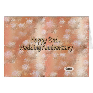 Happy 2nd. Wedding Anniversary Cotton Card