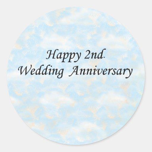 Happy 2nd. Wedding Anniversary Round Sticker