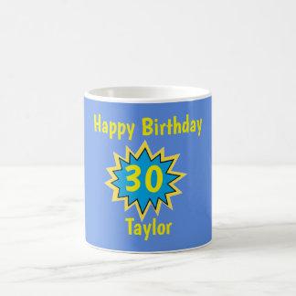 Happy 30th Birthday Blue and Yellow Superhero Coffee Mug
