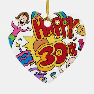 Happy 30th Birthday Cartoon Ceramic Ornament