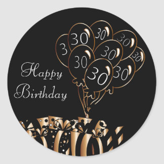 Happy 30th Birthday Classic Round Sticker