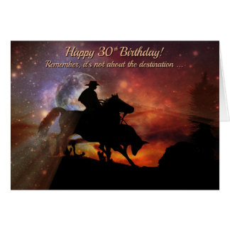 Happy 30th Birthday Cowboy and Horse Card