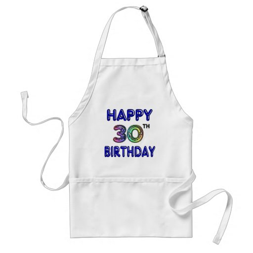 Happy 30th Birthday Design in Balloon Font Aprons