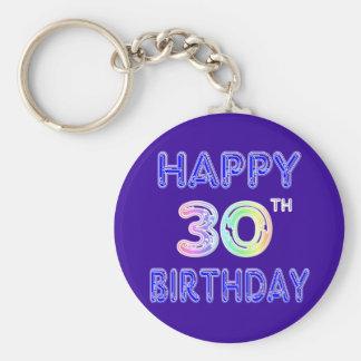 Happy 30th Birthday Design in Balloon Font Basic Round Button Key Ring
