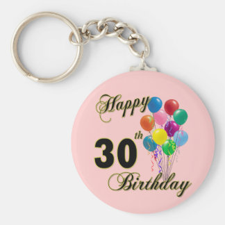 Happy 30th Birthday Gifts and Birthday Apparel Basic Round Button Key Ring