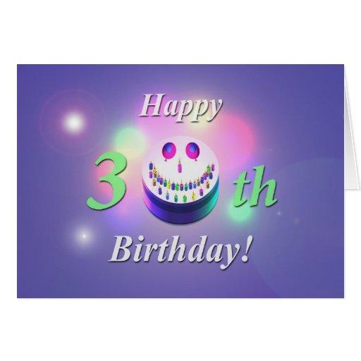 Happy 30th Birthday Smiley Cake Greeting Card