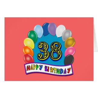Happy 38th Birthday Balloon Arch Card