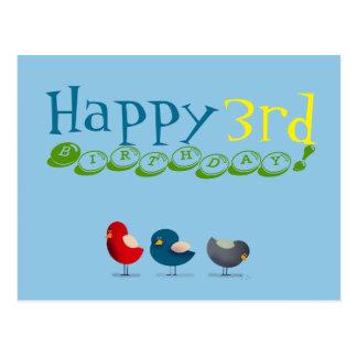 Happy 3rd Birthday Cartoon Birds Baby Boy Cheerful Postcard