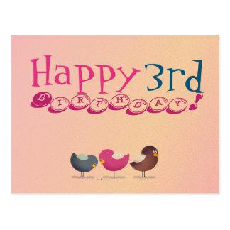 Happy 3rd Birthday Cartoon Birds Baby Girl Cute Postcard