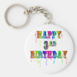 Happy 3rd Birthday Circus Font - Personalise it Key Chain