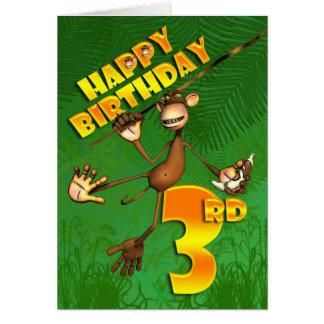 Happy 3rd Birthday Monkey Banana Card