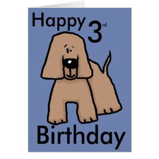 Happy 3rd birthday with a cartoon dog card