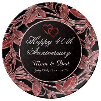 Happy 40th Anniversary Ruby Metallic Leaves Plate