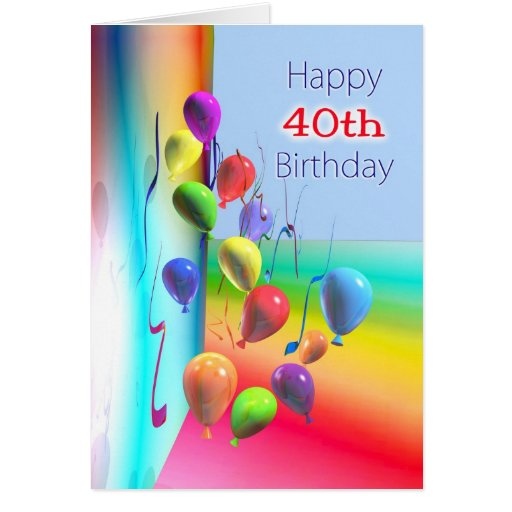 Happy 40th Birthday Balloon Wall Greeting Cards