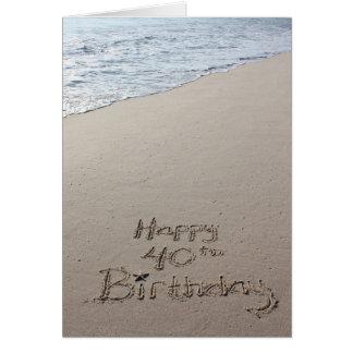 Happy 40th Birthday card on the beach sand ocean