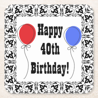 Happy 40th Birthday Coasters, Party Accessories Square Paper Coaster