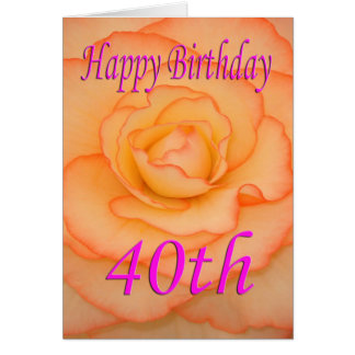 Happy 40th Birthday Flower Card