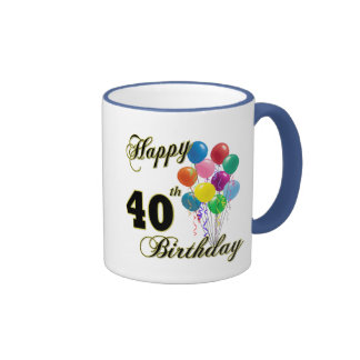 Happy 40th Birthday Gifts and Birthday Apparel Coffee Mugs